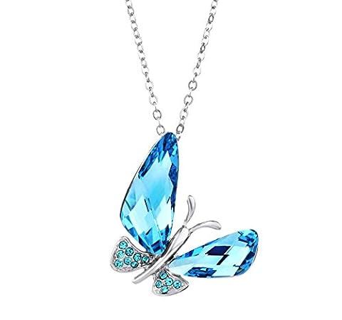 Neoglory Jewellery Mit Swarovski® Elements Halskette Schmetterling blau