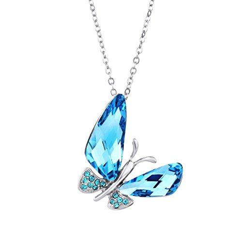 lements Halsketten Schmetterling Blau Kristall (Halloween 4 Personen / Kostüme)
