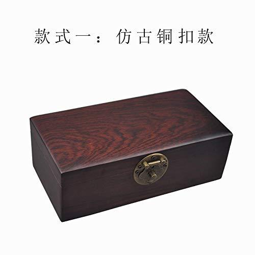 Sunqqd Boîte à bijoux style chinois acajou boîte de rangement créatif solide bois plaine cuivre...