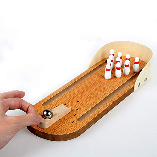ur Holztisch Top Bowling Spiel Weihnachten Familie Spaß Spiel Portable Travel Game Desktop Brettspiel ()