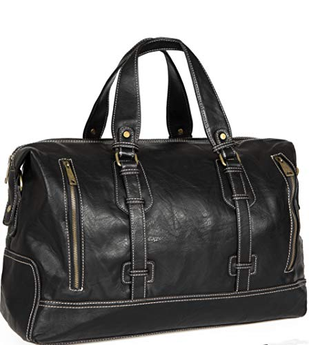 Viceree borsone da viaggio palestra borsa uomo tracolla bagaglio a mano nera  ecopelle zaino ufficio weekend elegante grande impermeabile