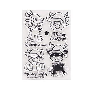 BESTOYARD Weihnachten Silikonstempel Tiere Clear Stamps Transparente Briefmarken für Kartenherstellung Album Scrapbooking DIY Foto Karte Buch Wand Fenster Deko