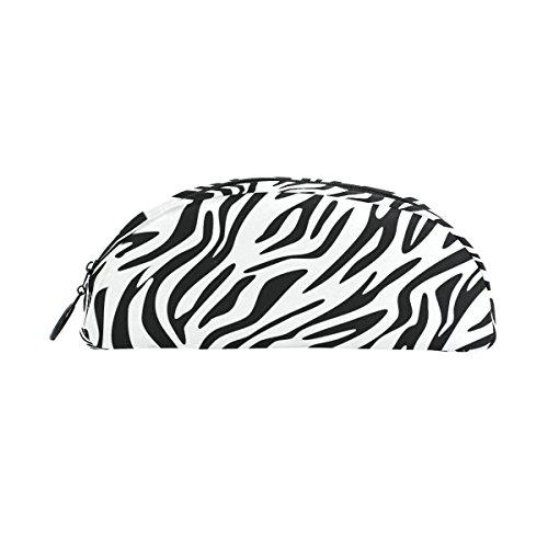 Domoko Zebra Print Animal Haut Pen Pouch Federmappe Fall Make-Up Kosmetik Tasche mit Reißverschluss Twill-zebra-print