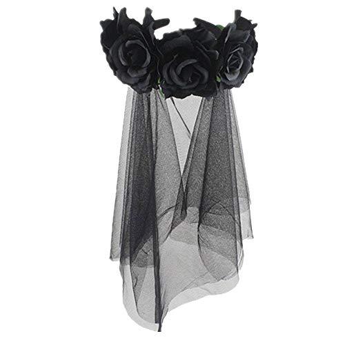 Tot Halb Kostüm Mädchen - Party Stirnband für Party, Hochzeit, Festival, Frauen Mädchen, Rose, Krone Spitze, Schleier Girlande Haarschmuck, schwarz