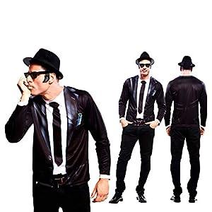 Yiija Camiseta Disfraz Bluesman para Hombre en Varias Tallas