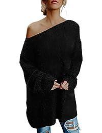SEWORLD Pullover Damen, Frauen Winter Herbst Langarm Schulterfrei Sweater Faux Fur Bluse Top Kleid Loose Fledermausärmel Sweatshirt