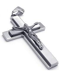KONOV Bijoux Pendentif Croix Collier Homme - Chaîne - Crucifix Jesus - Acier Inoxydable - pour Homme et Femme - Couleur Argent - Avec Sac Cadeau