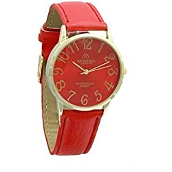 Unisex Gold Plated Mondex / Azaza / MABZ PU Leather Strap Watch (Red Strap With Red Dial)