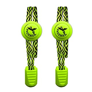 Phoenix Fit UK - No tie Elastic Lace System with lock - Easy to install in a Great for runners, children, older generation & active lifestyles - 1 Pair (Lime Green - Wave Pattern)