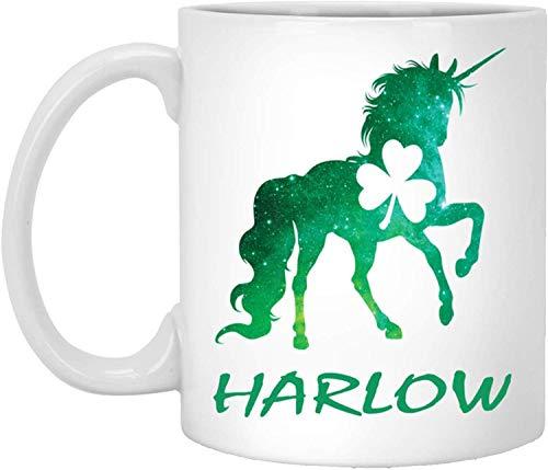 Tea Mug, White, Harlow Mug Harlow Unicorn Personalized Custom Name 11 Oz White Coffee Cup St Patricks Day Gift - Harlow Cup