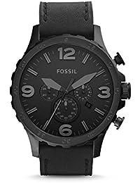 Fossil Leder Armbanduhr Nate - mit schwarzem Ziffernblatt und Lederarmband / Männer Armbanduhr mit Chronographen-Funktion & Datumsanzeige - 10 bar Wasserdichtigkeit