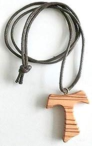 10.444.90 LAC collana croce tau 4 cm san francesco assisi legno di ulivo pace comunione