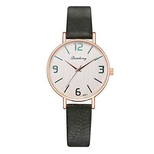 A19 Grün (XZDCDJ Damen Uhr Armbanduhr Damenuhren Einfache und stilvolle Casual Multi-Color Dial Lederband Damen Quarzuhr A19 Grün)