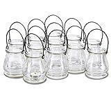 Relaxdays Windlicht aus Glas, 12er Set, Runde Glasvase mit Henkel, Tischdeko für Drinnen u. Draußen, 10 cm hoch, klar