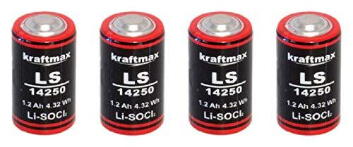 4X Lithium 3,6V Batterie LS 14250-1/2 AA ER14250 Li-SOCl2 LS14250 Akkuman.de Set (4er)
