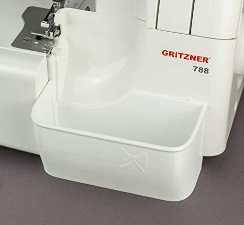 Nähwelt Flach Auffangbehälter Gritzner 788: Die Lösung für abgeschnittene Fäden und Stoffreste an der Overlock-Maschine in Verschiedenen Farben (Weiß)
