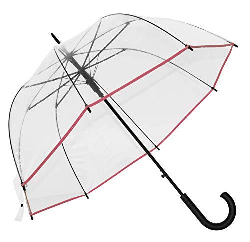 Baciami Transparenter Damen Regenschirm - Automatik Glockenschirm mit AUF-Automatik, ⌀ 90cm, 350g, Pink