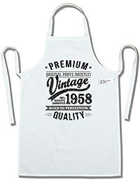 My Generation Gifts 1958 Vintage Year - Aged To Perfection - 60 Cumpleaños Regalos / 30 años Delantal para Hombre Blanco