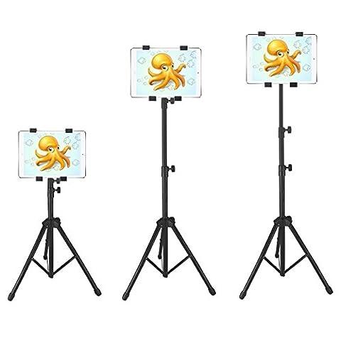 Trépied pour Tablette iPad, iPad mini et autres tablettes de 17,8–25,4cm avec support adaptateur de support, noir