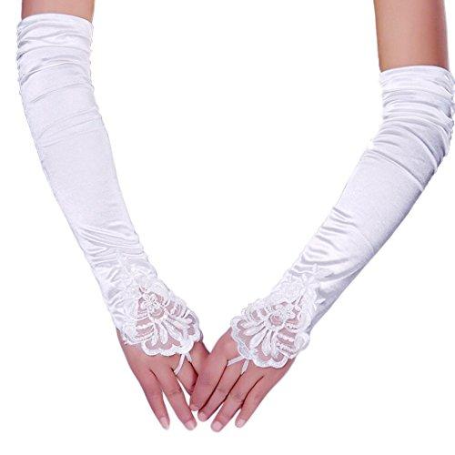 Lange Kostüm Flapper Kleid (iLoveCos lange Fingerlose Elastischer Spitze Braut Handschuhe 1920er Zubehör Flapper Kostüm für Frauen)