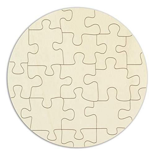 Kopierladen Holzpuzzle Rund blanko, leeres Puzzle aus Holz zum selbst gestalten und bemalen, ca. Ø 22 cm, mit 21 Teilen im Jutebeutel, inkl. Puzzlevorlage - Kreis Holz-puzzle
