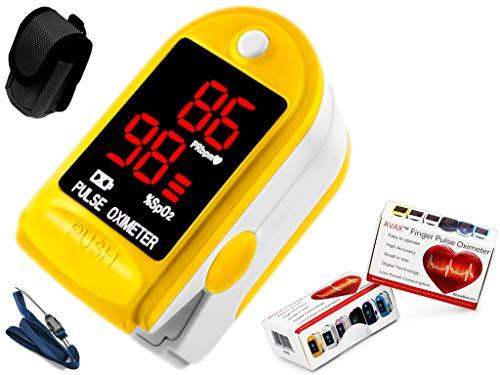 AVAX 50DL - Oxímetro de pulso de dedo -%SpO2 (saturación de oxígeno en sangre) & Monitor de ritmo cardíaco - COPD - con instrucciones, cordón y funda de transporte (en paquete de regalo) -