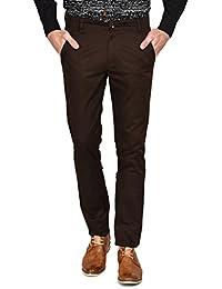 Ruace Men's Brown Slim Fit Cotton Trouser