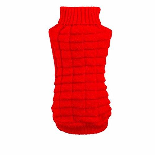 Hunpta Hundebekleidung streicheln Winter wollene Pullover Strickwaren Welpen Kleidung Warm Hanf Blumen hoher Kragen Fell (XS, Rot) -