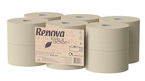 Renova papier toilette jumbo love & Action, Beige- Lot de 12