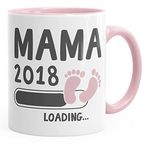 MoonWorks Kaffee-Tasse Mama 2018 Loading Geschenk-Tasse für Werdende Mama Schwangerschaft Geburt Baby Tee-Tasse Rosa Unisize