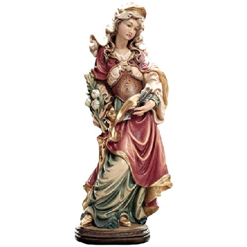 Demi Art - Heiligenfigur Hl. Ursula mit Pfeil aus Berg-Ahorn Holz geschnitzt und von Hand bemalt, 36 cm (Pfeil Krippe)