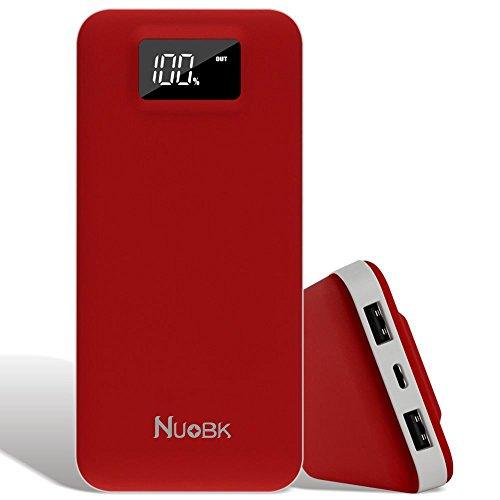 Nuobk 20000mAh Cargadores Portátiles Batería Externa Portátil Cargador Móvil Power Bank Dual Salida USB Power Bank con LED-Indicación del Estado (Rojo)
