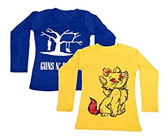 Indistar Girls Combo Pack(Pack of 2 full Sleeves T-Shirts With 1 Cotton and 1 Wollen Warm Lower /Track Pant)_Blue::Yellow::Yellow::Blue::Brown_6-7 Year