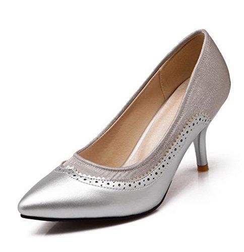 VogueZone009 Femme Pointu Stylet Tire Couleurs Mélangées Chaussures Légeres Argent