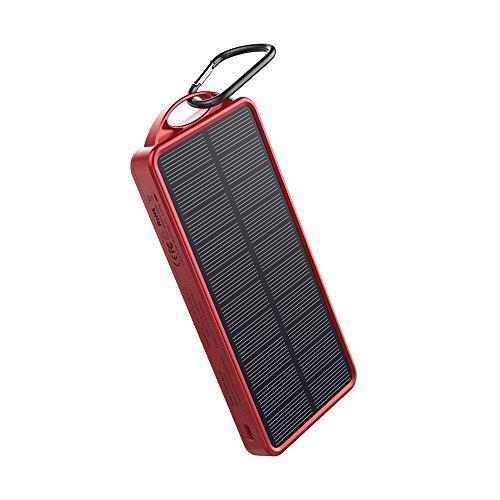 OUTXE Power Bank Portatile Solare con Torcia a 32 LED 8000 mAh con Due Porte USB Pannelli Solari