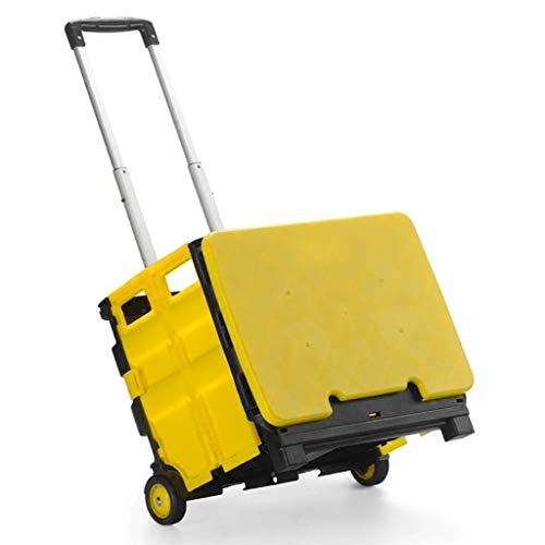RTTgv Einkaufstrolleys Einkaufswagen schwere übergroße faltende Supermarkteinkaufsskischuhe Autokastenwagen 30KG Kapazität (Farbe : Gelb)
