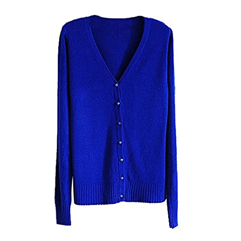 TOOGOO(R) Navy Blue Women Knitted Sweater V-neck Long Sleeve Cashmere Cardigan