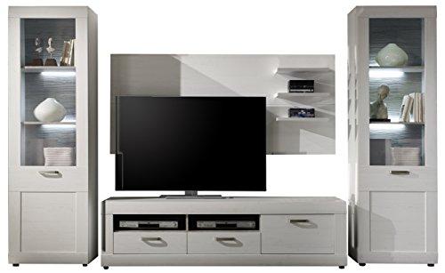 Maisonnerie 1433-951-57 Ensemble Meuble TV Blanc Pin Style Campagnard LxHxP 333 x 195 x 41 cm