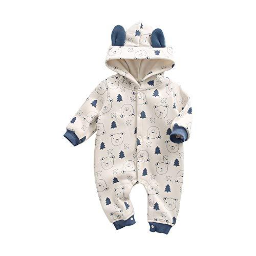 Sanlutoz Dessin animé Impression Bébé Garçons Bodysuit Hiver Coton Bébé Barboteuse avec des Oreilles (6-12 mois/73cm, BRW8180-KA)