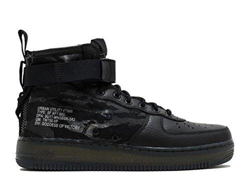 Nike Herren SF Air Force 1 Mid Schwarz Leder/Synthetik Sneaker black, black-cargo khaki