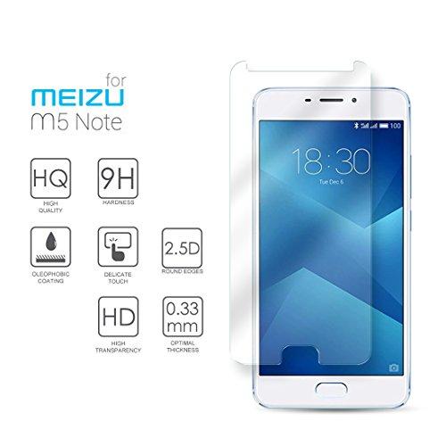 Meizu M5 Note Hartglas Schutzfolie Bildschirmschutz, Gehärtetem Glass Folie für Meizu M5 Note, 5.5 Zoll - 9H Glashärte, Kratzfeste & Ölabweisende Beschichtung, HD Transparenz & Feingefühl