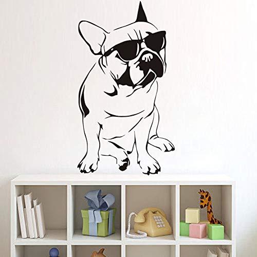jiuyaomai Französische Bulldogge mit Sonnenbrille Wandaufkleber Lustige Tiermuster Aufkleber Kinderzimmer Vinyl DIY Wandaufkleber Muraux 42x80cm