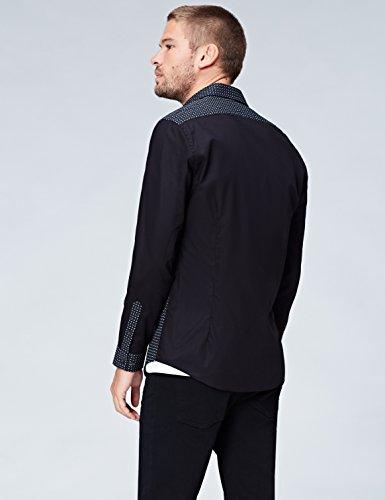 FIND Herren Hemd mit kontrastierendem Paisley-Muster Schwarz (Black)