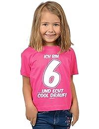 Mädchen zum 6. Geburtstag 6 Jahre alt T-Shirt - Geschenk Idee Kindergeburtstag Kindershirt Ich bin 6 …und echt cool drauf! 6 Geburtstagsgeschenk Kinder lieber Spruch bedruckt in pink : )