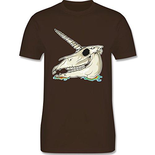 Shirtracer Piraten & Totenkopf - Einhorn Totenkopf - Herren T-Shirt Rundhals Braun