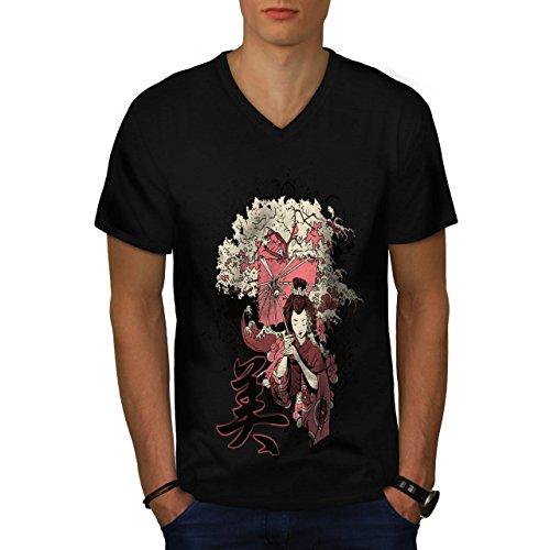 Geisha Sakura Kunst Fantasie Kostüm Perücke Herren M V-Ausschnitt T-shirt | Wellcoda
