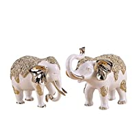 Asnvvbhz Crafts European Home Decorations Resin Elephant Ornaments A Pair Of Handmade Crafts (Color : Gold, Size : Small)