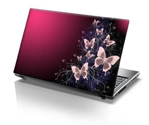 TaylorHe Folie Sticker Skin Vinyl Aufkleber mit bunten Mustern für 15 Zoll 15,6 Zoll (38cm x 25,5cm) Laptop Skin Schmetterlinge, rosa, funkelt