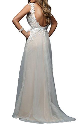 Missdressy Klassisch A-Linie Schleppe Traeger Satin Tuell Spitze Abendkleider Hochzeitskleider Brautjungfernkleider Bildfarbe