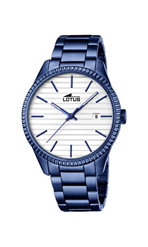 Lotus Unisex Quartz Watch with Silver Dial Analogue Display and Blue Stainless Steel Plated Bracelet 18301/1
